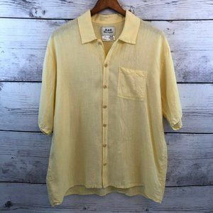 Flax by Jeanne Engelhart Yellow Linen Top Small